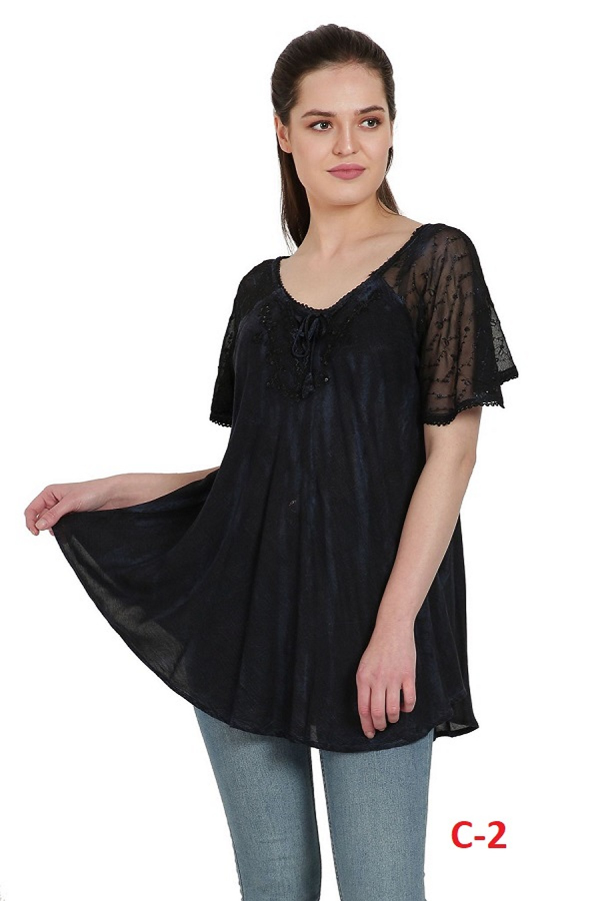 TS-2203 Allegra Womens Short Sleeve Loose Fit Casual Tie